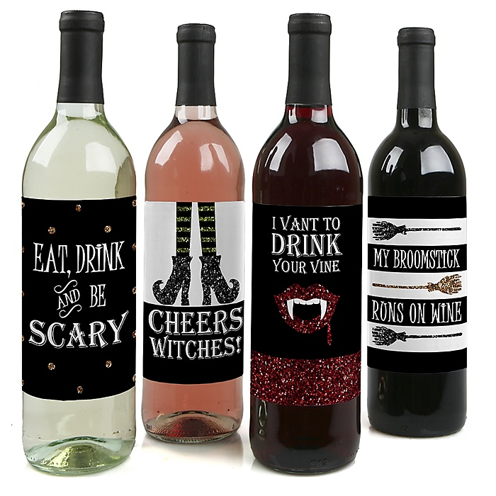 Spooktacular – Eat, Drink and Be Scary - Halloween Party Decorations for Women and Men - Wine Bottle Labels – Set of 4