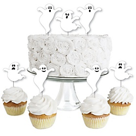 Spooky Ghost - Dessert Cupcake Toppers - Halloween Party Clear Treat Picks - Set of 24