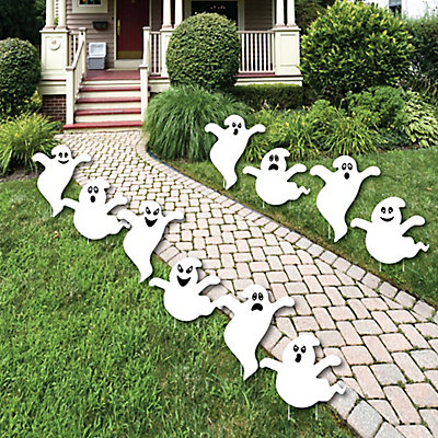 spooky ghost ghost shape lawn decorations outdoor halloween yard decorations 10 piece bigdotofhappinesscom