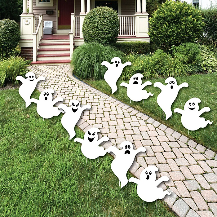 Spooky Ghost - Ghost Shape Lawn Decorations - Outdoor Halloween Yard Decorations - 10 Piece