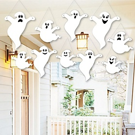 Hanging Spooky Ghost - Outdoor Halloween Hanging Porch & Tree Yard Decorations - 10 Pieces