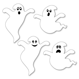 Spooky Ghost - DIY Shaped Halloween Party Paper Cut-Outs - 24 Ct.