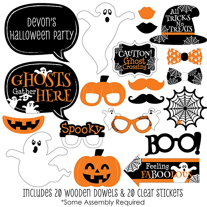 Spooky Ghost - 20 Piece Halloween Party Photo Booth Props Kit