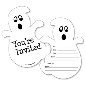 Spooky Ghost - Shaped Fill-In Invitations - Halloween Party Invitation Cards with Envelopes - Set of 12