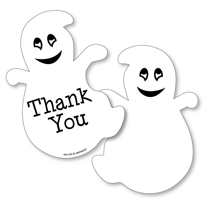 Spooky Ghost - Shaped Thank You Cards - Halloween Party Thank You Note Cards with Envelopes - Set of 12