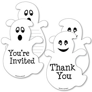 Spooky Ghost - 20 Shaped Fill-In Invitations and 20 Shaped Thank You Cards Kit - Halloween Party Stationery Kit - 40 Pack