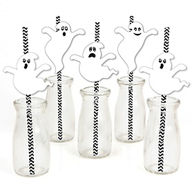 Spooky Ghost - Paper Straw Decor - Halloween Party Striped Decorative Straws - Set of 24