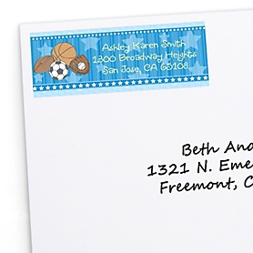 All Star Sports - Personalized Baby Shower Return Address Labels - 30 ct