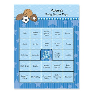 All Star Sports - Bingo Personalized Baby Shower Games - 16 Count
