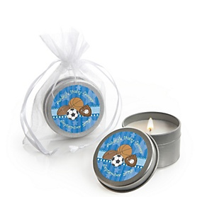 All Star Sports - Personalized Baby Shower Candle Tin Favors - Set of 12