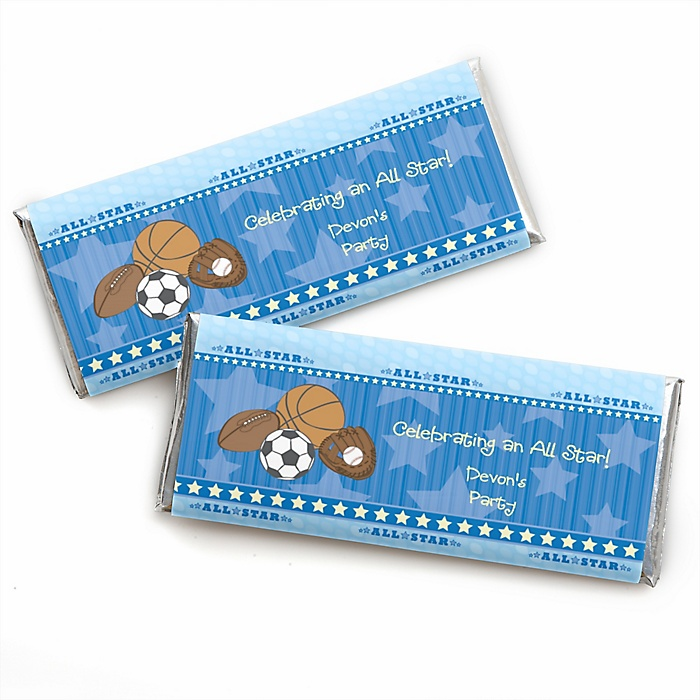 All Star Sports - Personalized Candy Bar Wrapper Baby Shower or Birthday Party Favors - Set of 24
