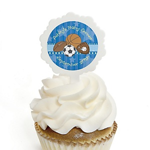 All Star Sports - 12 Cupcake Picks & 24 Personalized Stickers - Baby Shower Cupcake Toppers
