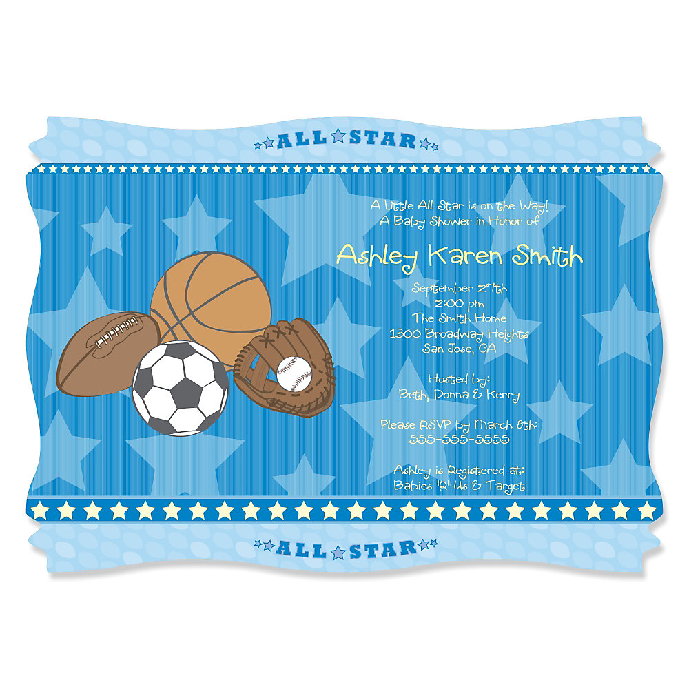All star sports personalized baby shower invitations loading filmwisefo Gallery
