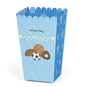 All Star Sports - Personalized Party Popcorn Favor Treat Boxes - Set of 12