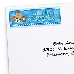 All Star Sports - Personalized Birthday Party Return Address Labels - 30 ct