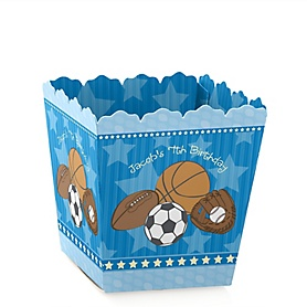 All Star Sports - Party Mini Favor Boxes - Personalized Birthday Party Treat Candy Boxes - Set of 12