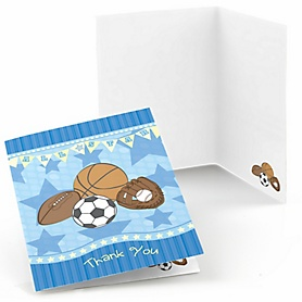 All Star Sports - Birthday Party Thank You Cards - 8 ct