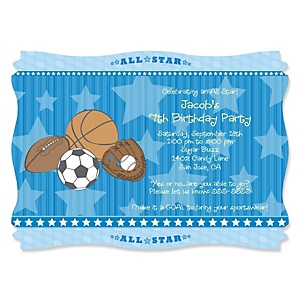 All Star Sports - Personalized Birthday Party Invitations - Set of 12