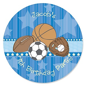All Star Sports - Personalized Birthday Party Sticker Labels - 24 ct