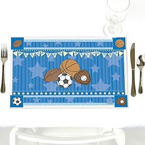 All Star Sports - Party Table Decorations - Baby Shower or Birthday Party Placemats - Set of 12