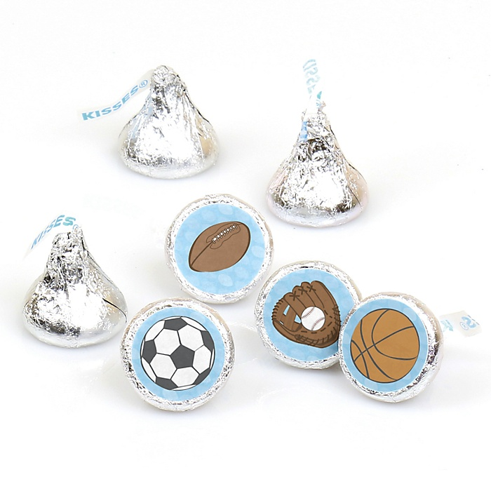 All Star Sports - Round Candy Labels Party Favors - Fits Hershey's Kisses - 108 ct