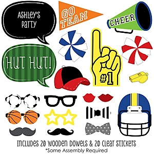 Sports Party - 20 Piece Photo Booth Props Kit