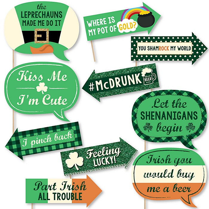 Funny St. Patrick's Day - Saint Patty's Day 10 Piece Photo Booth Props Kit