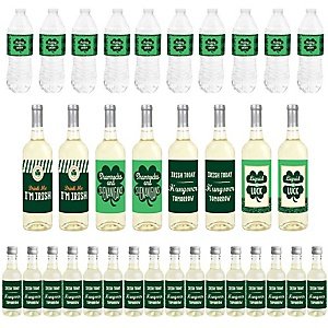 St. Patrick's Day - Mini Wine Bottle Labels, Wine Bottle Labels and Water Bottle Labels - Saint Patty's Day Party Decorations - Beverage Bar Kit - 34 Pieces