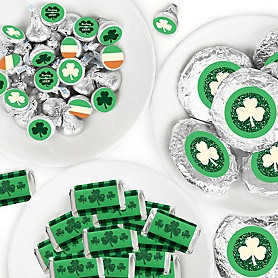 St. Patrick's Day - Mini Candy Bar Wrappers, Round Candy Stickers and Circle Stickers - Saint Patty's Day Party Candy Favor Sticker Kit - 304 Pieces