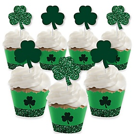 St. Patrick's Day - Cupcake Decoration - Saint Patty's Day Party Cupcake Wrappers and Treat Picks Kit - Set of 24
