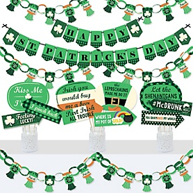 St. Patrick's Day - Banner and Photo Booth Decorations - Saint Patty's Day Party Supplies Kit - Doterrific Bundle