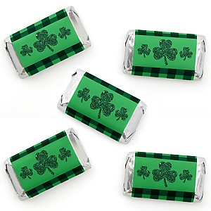 St. Patrick's Day - Mini Candy Bar Wrapper Stickers - Saint Patty's Day Party Small Favors - 40 Count