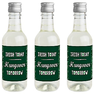 St. Patrick's Day - Mini Wine and Champagne Bottle Label Stickers - Saint Patty's Day Party Favor Gift for Women and Men - Set of 16