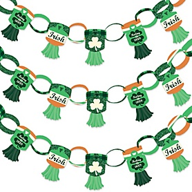St. Patrick's Day - 90 Chain Links and 30 Paper Tassels Decoration Kit - Saint Patty's Day Party Paper Chains Garland - 21 feet