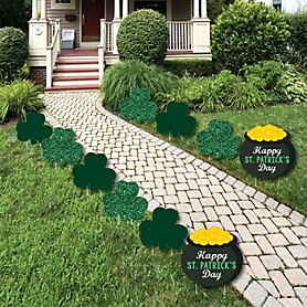 St. Patrick's Day - Shamrock and Pot of Gold Lawn Decorations - Outdoor Saint Patty's Day Party Yard Decorations - 10 Piece