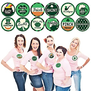 St. Patrick's Day - Saint Patty's Day Party Name Tags - Sticker Set of 12