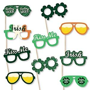 St. Patrick's Day Glasses - Paper Card Stock Saint Patty's Day Party Photo Booth Props Kit -10 Count