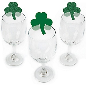 St. Patrick's Day - Shaped Saint Patty's Day Party Wine Glass Markers - Set of 24