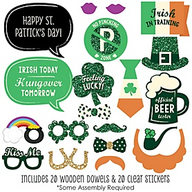 St. Patrick's Day - 20 Piece Saint Patty's Day Photo Booth Props Kit