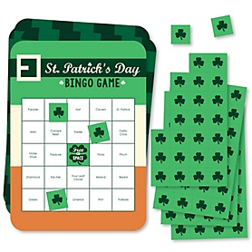 St. Patrick's Day - Bar Bingo Cards and Markers - Saint Patty's Day Party Bingo Game - Set of 18