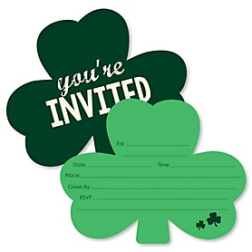 St. Patrick's Day - Shaped Fill-In Invitations - Saint Patty's Day Party Invitation Cards with Envelopes - Set of 12