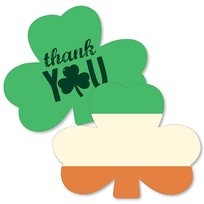 St. Patrick's Day - Shaped Thank You Cards - Saint Patty's Day Party Thank You Note Cards with Envelopes - Set of 12