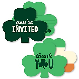 St. Patrick's Day - 20 Shaped Fill-In Invitations and 20 Shaped Thank You Cards Kit - Saint Patty's Day Party Stationery Kit - 40 Pack