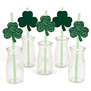 St. Patrick's Day - Paper Straw Decor - Saint Patty's Day Party Striped Decorative Straws - Set of 24