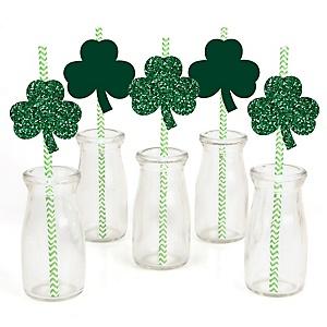St. Patrick's Day - Paper Straw Decor - Saint Patty's Day Party Striped Decorative Straws - Set of 24