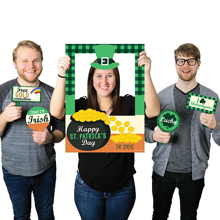 St. Patrick's Day - Personalized Saint Patty's Day Party Selfie Photo Booth Picture Frame & Props - Printed on Sturdy Material