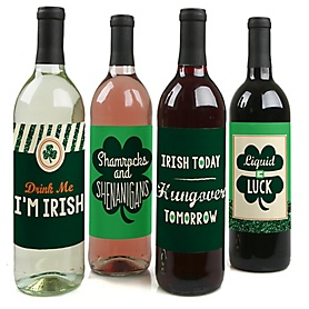 St. Patrick's Day - Saint Patty's Day Decorations for Women and Men - Wine Bottle Labels - Set of 4