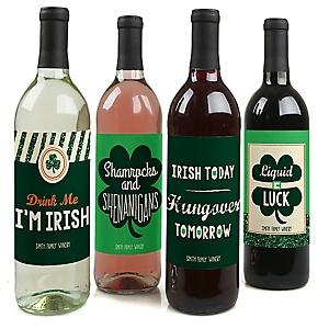 St. Patrick's Day - Saint Patty's Day Wine Bottle Labels - Set of 4
