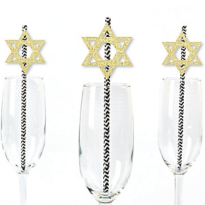 Gold Glitter Star of David Party Straws - No-Mess Real Gold Glitter Cut-Outs & Decorative Hanukkah Paper Straws - Set of 24