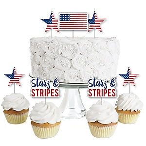 Stars & Stripes - Dessert Cupcake Toppers - Labor Day Patriotic Party Clear Treat Picks - Set of 24